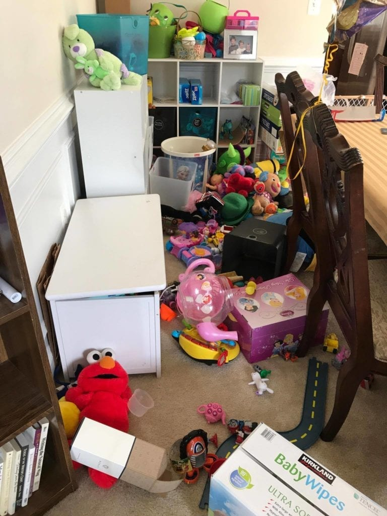 House destroyed by whirlwind of toys